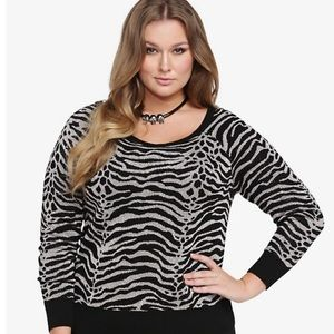 🎄Torrid zebra glitter sweater size 1X 14/16🎄